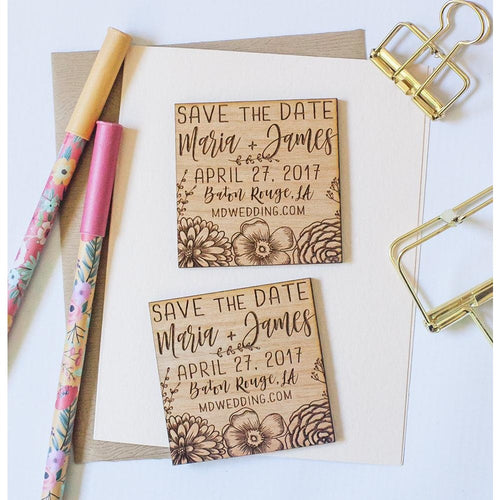 Custom Save the Date Wood Magnets - Floral Wedding
