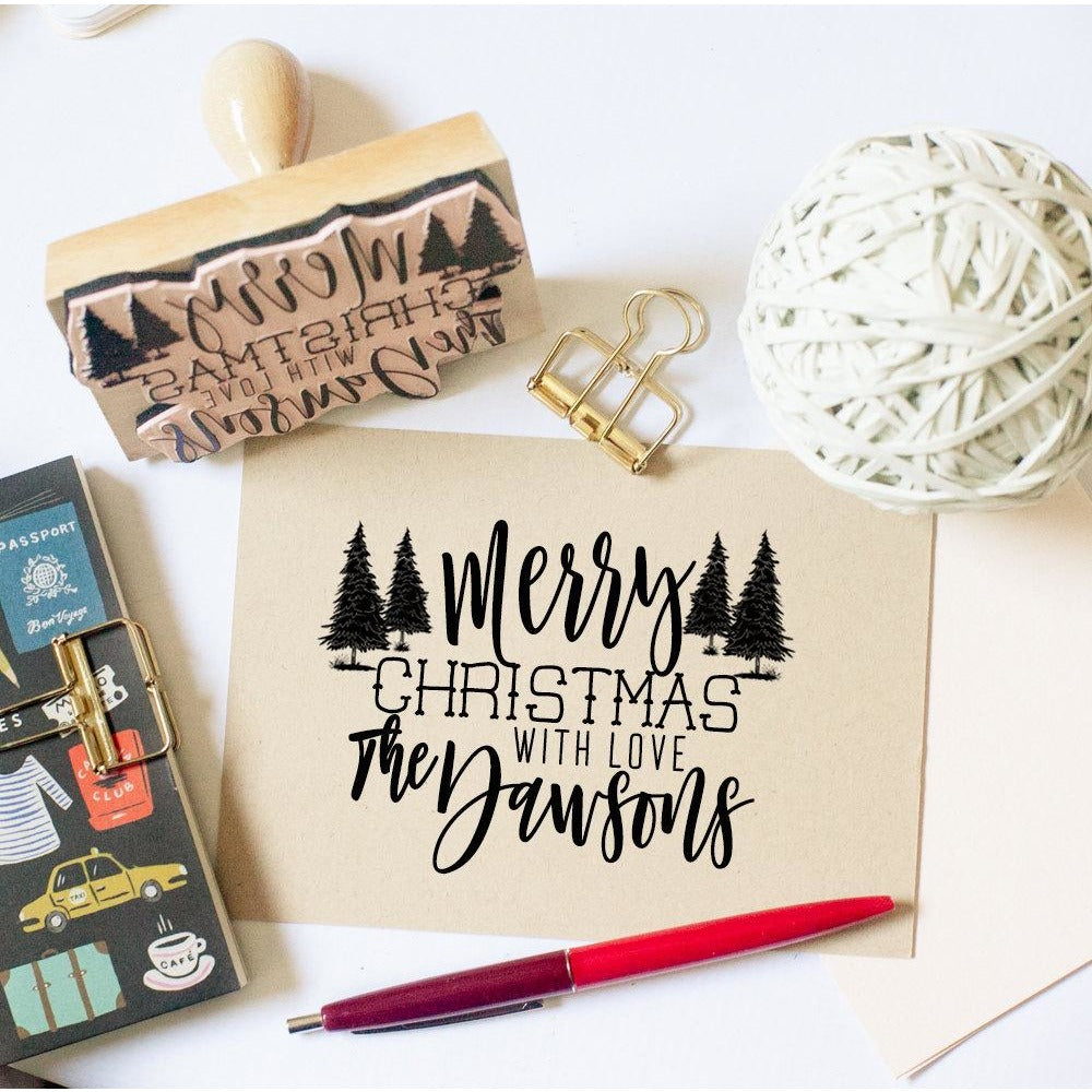 Family Christmas Rubber Stamp