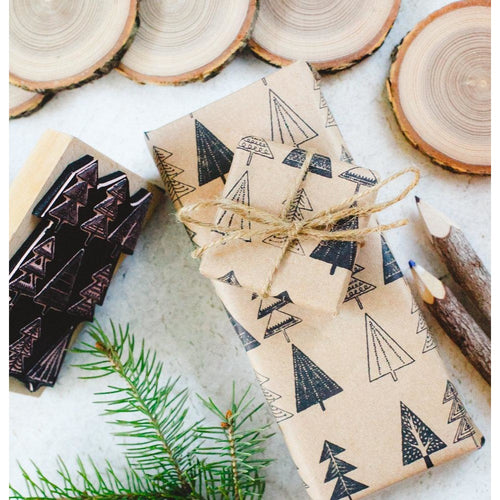 DIY Christmas Wrapping Paper Rubber Stamp