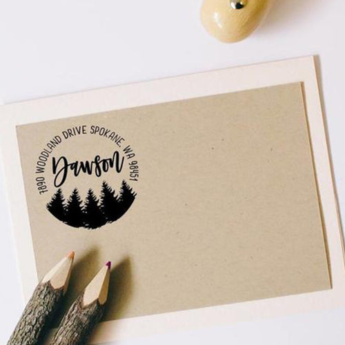 Winter Trees Address Stamp