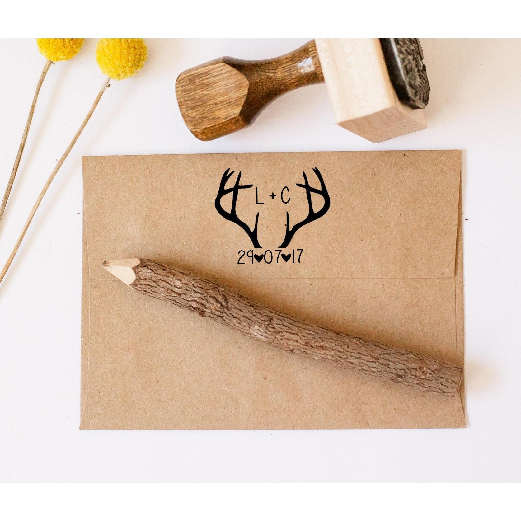 Customized Deer Antler Rubber Stamp