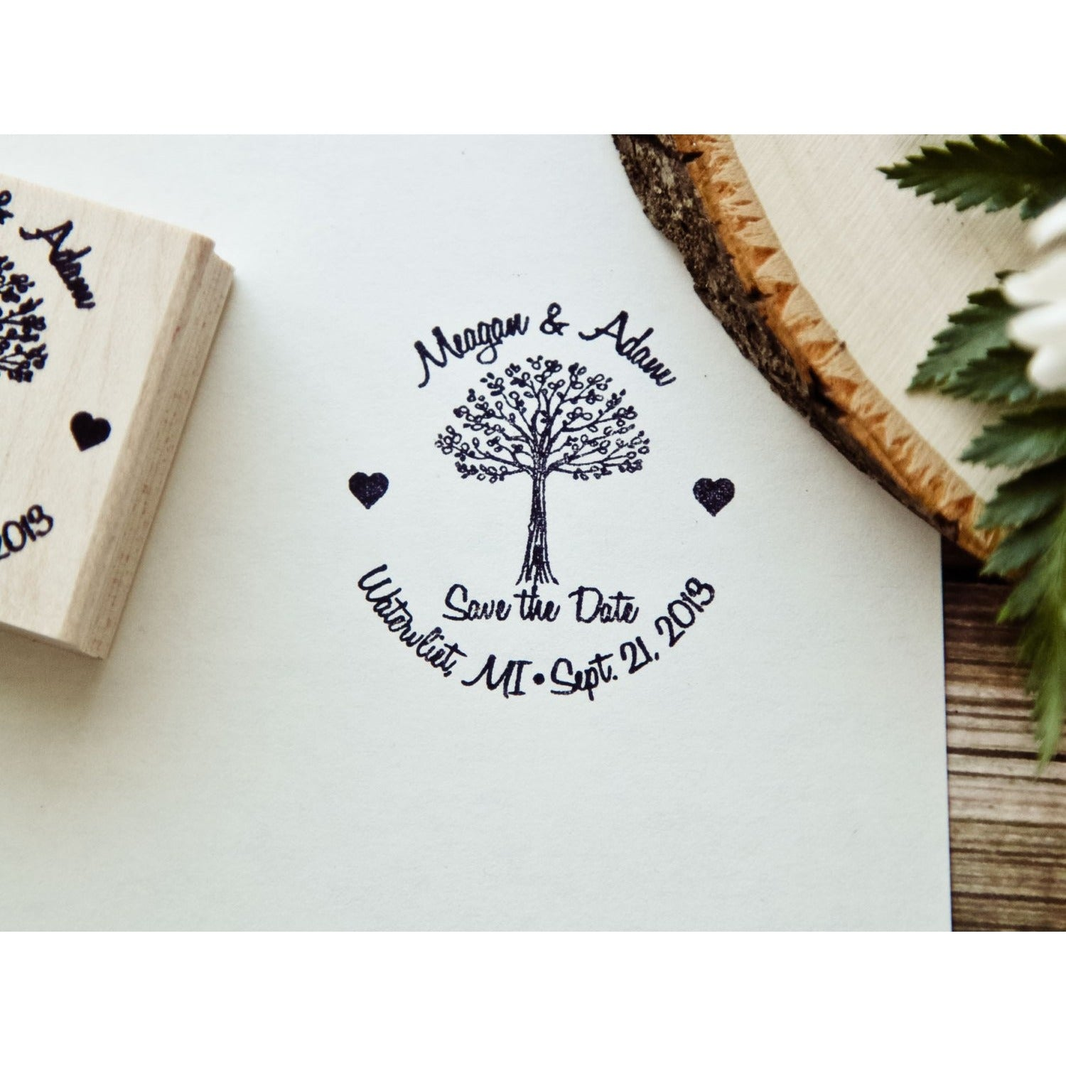 Custom Rubber Stamp, Personalized Rubber Stamp, Save The Date Tree Stamp, Custom Tree Rubber Stamp, Wedding Rubber Stamp