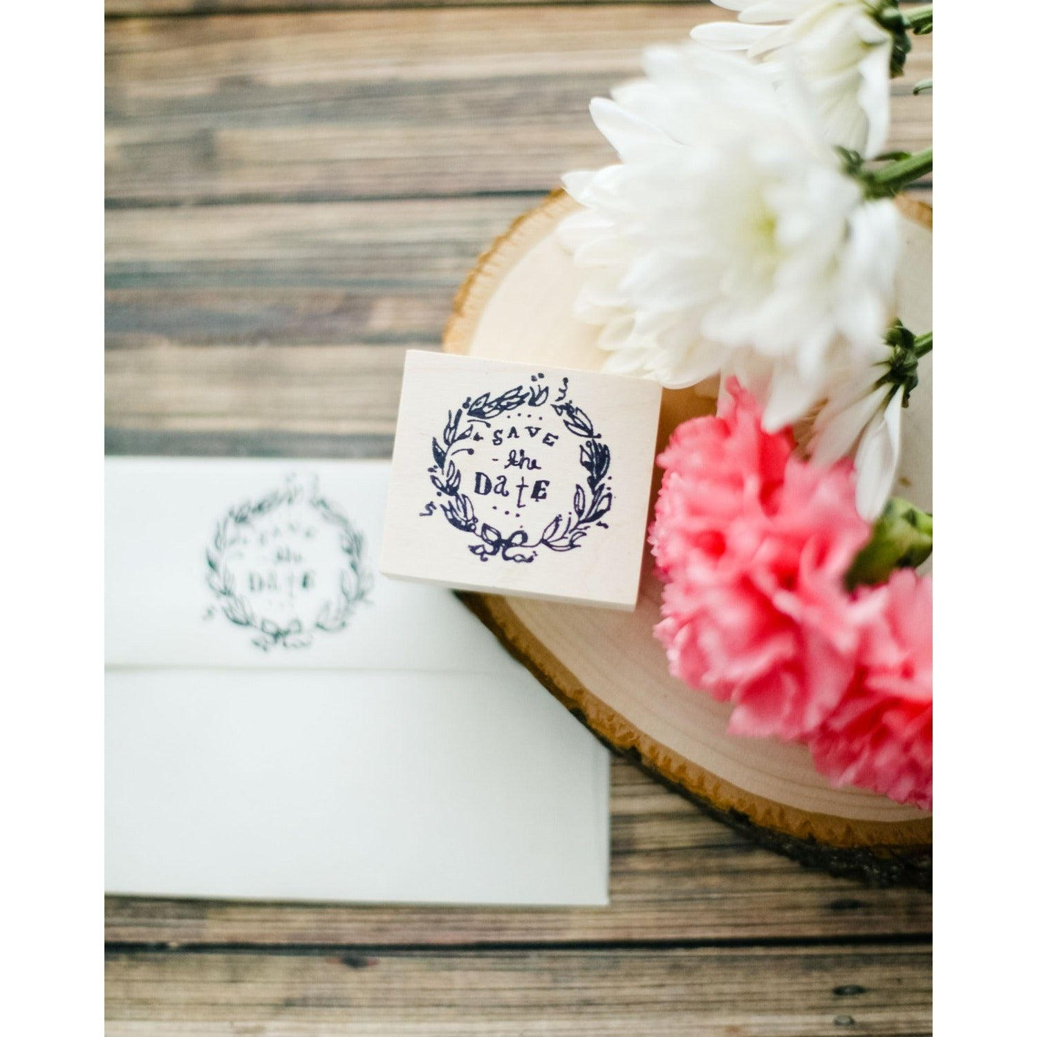 Save the Date Wedding Wreath Rubber Stamp