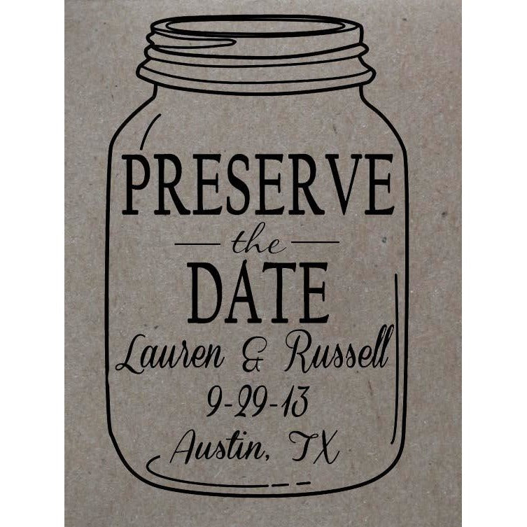 Custom Mason Jar Wedding Stamp