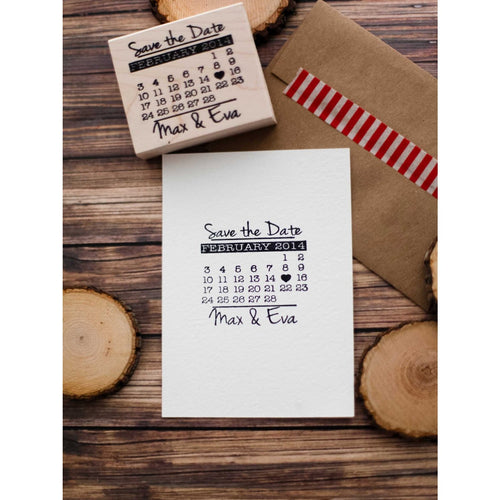 Save the Date Calendar Rubber Stamp