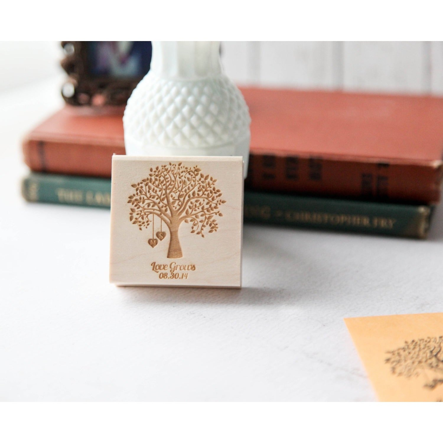 Customized Love Grows Rubber Stamp, Seed Packet Rubber Stamp, Wedding Favor Rubber Stamp