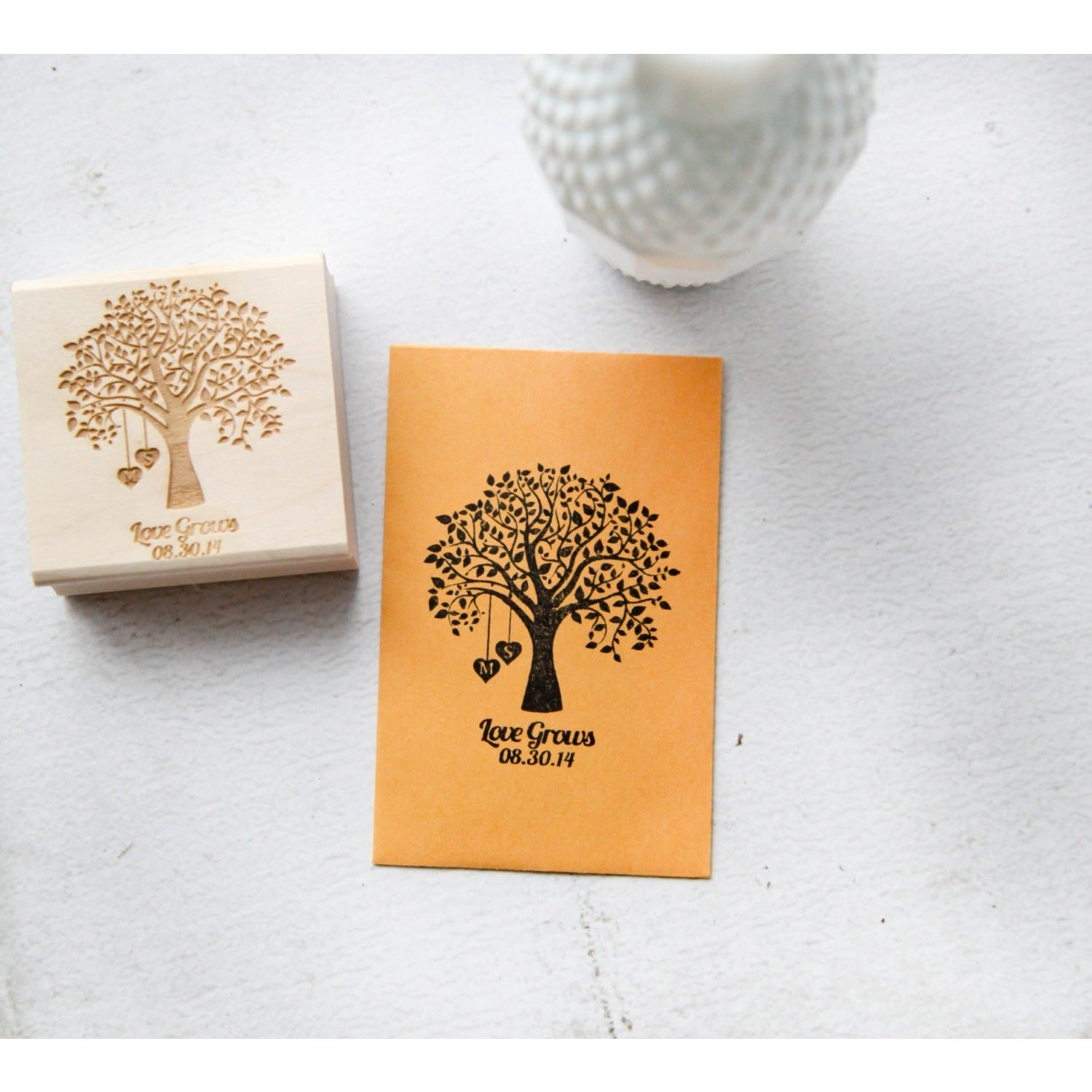 Customized Seed Favor Rubber Stamp- Love Grows