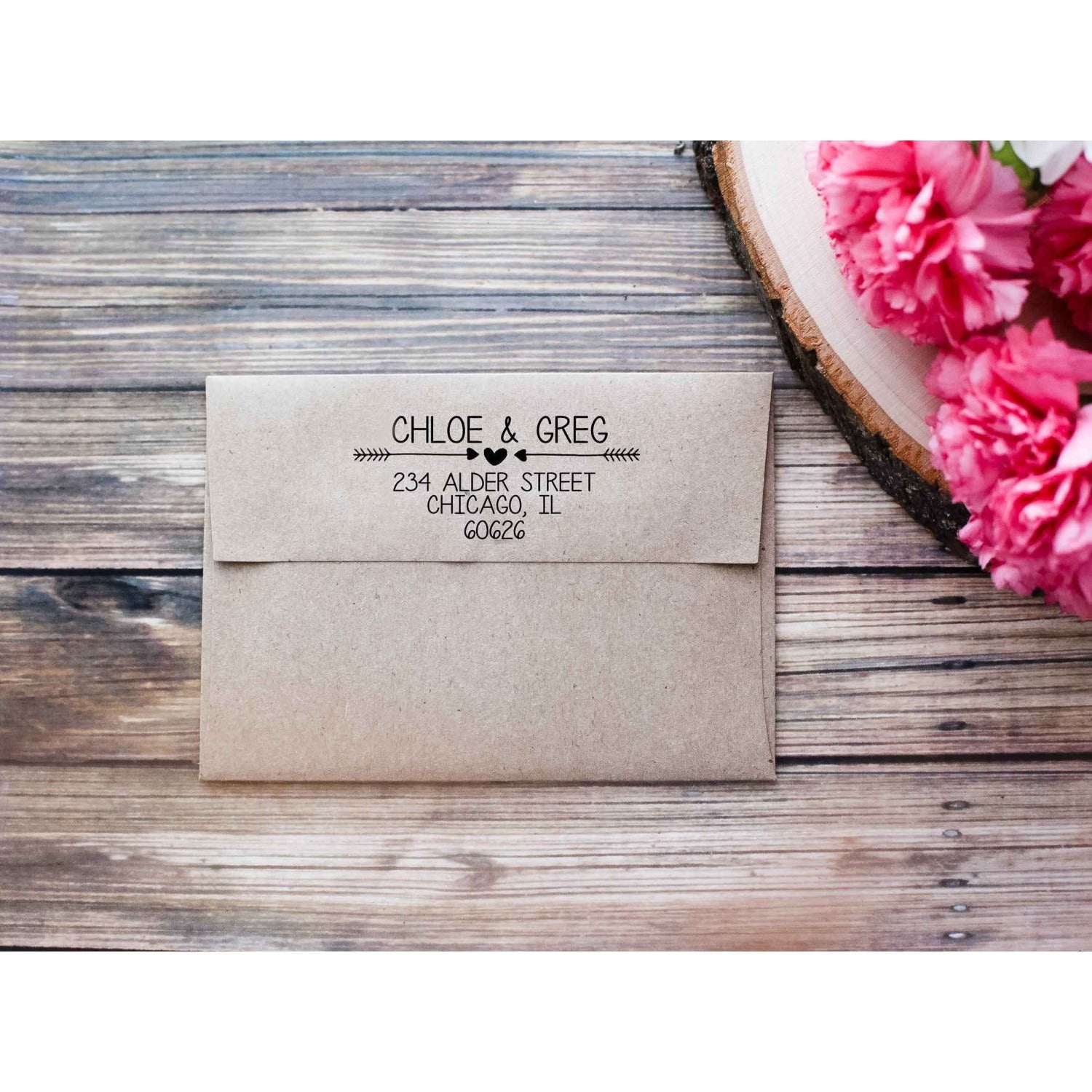 Return Address Stamp with Heart and Arrows