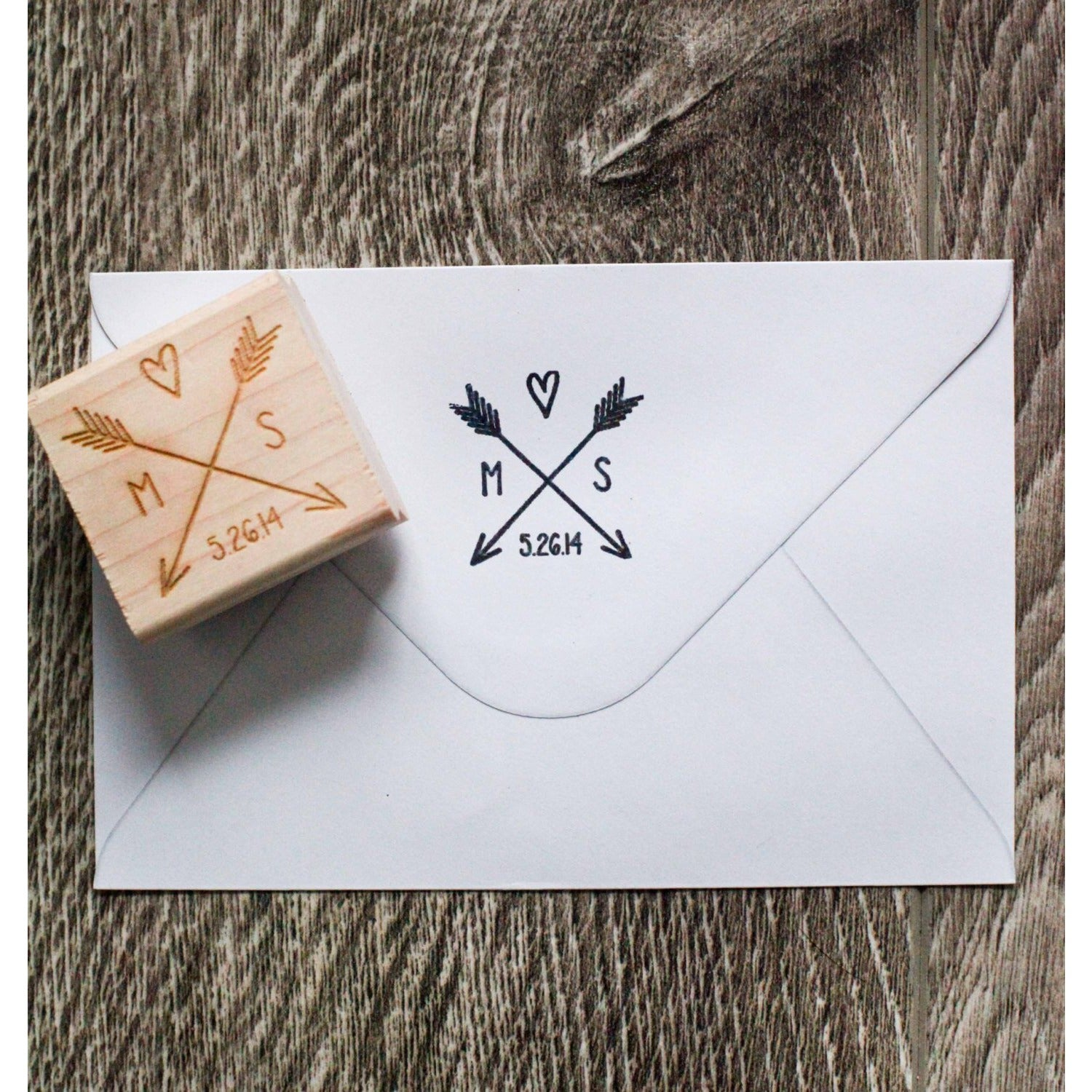 Personalized Wedding Initials and Arrow Rubber Stamp