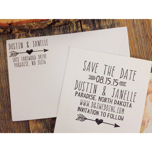 Custom Save the Date Wedding & Address Rubber Stamp Set