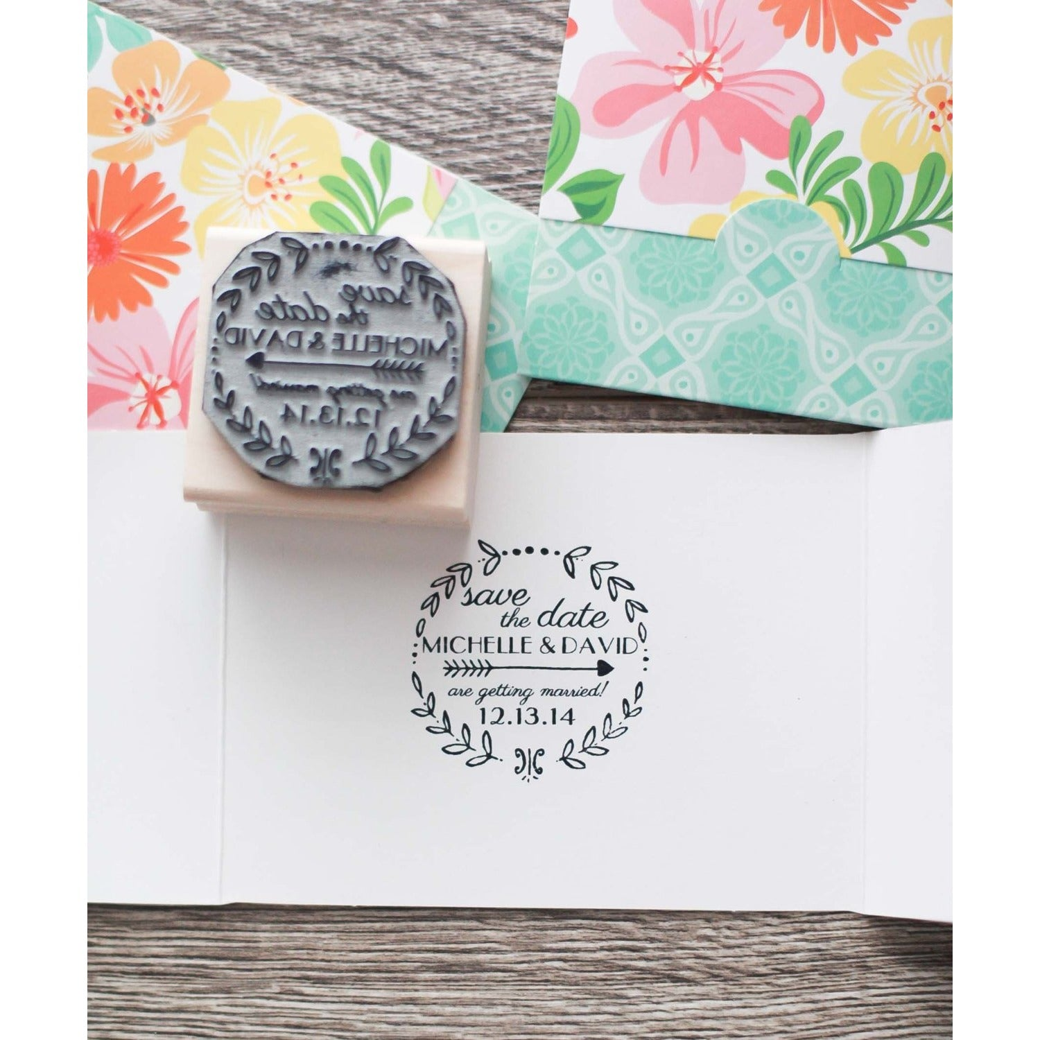 Save the Date Wreath Wedding Invitation Stamp
