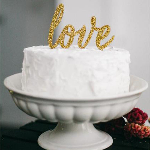 Love Cake Topper, Gold Cake Topper, Wedding Cake Topper, Anniversary Cake Topper, Birthday Cake Topper