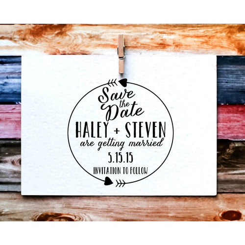 Save the Date Calligraphy Rubber Stamp