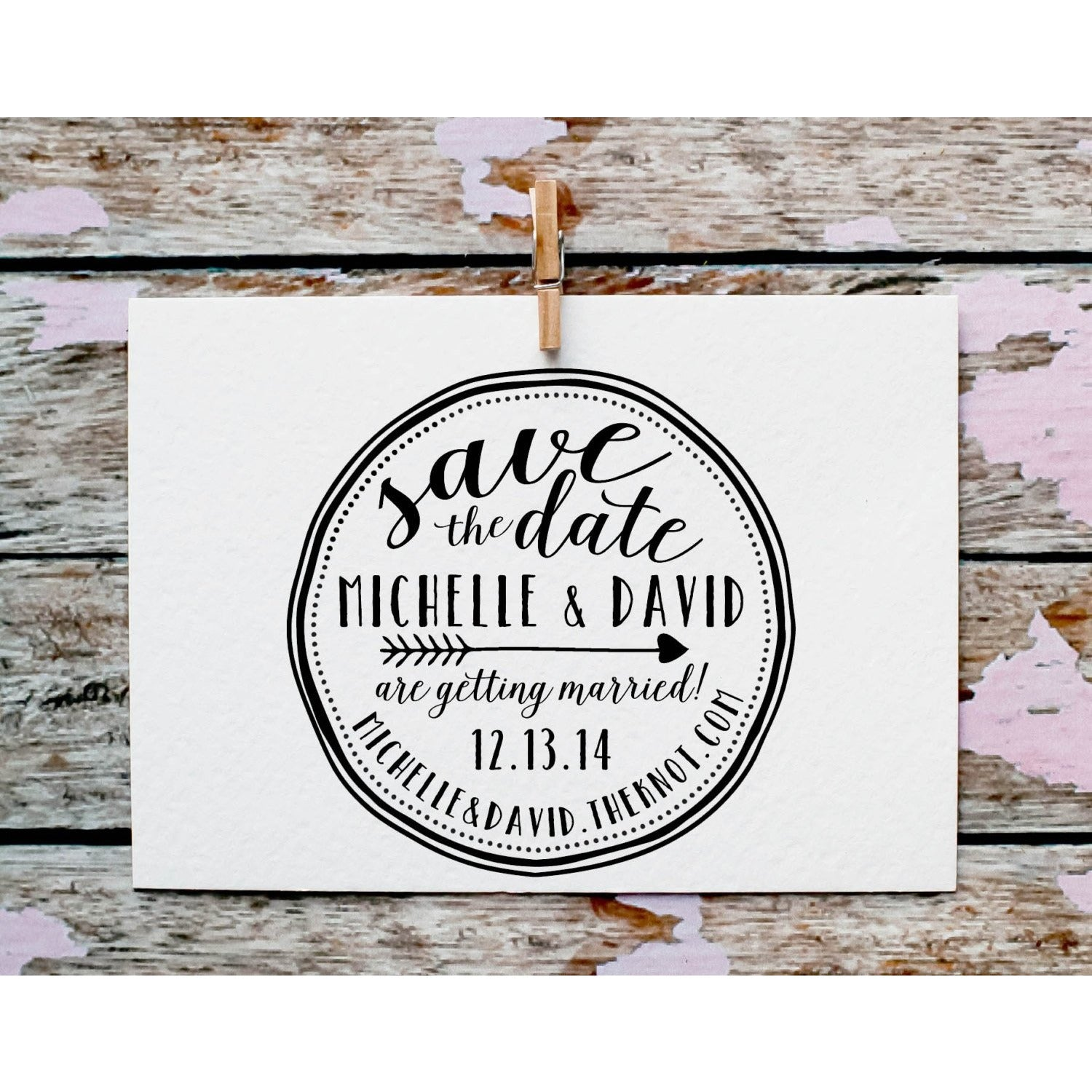 custom save the date stamp calligraphy rubber stamp red cloud studio