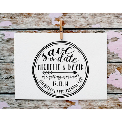 Custom Save the Date Stamp Calligraphy Rubber Stamp