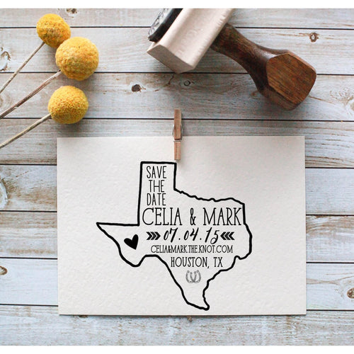 Custom Save the Date State Rubber Stamp