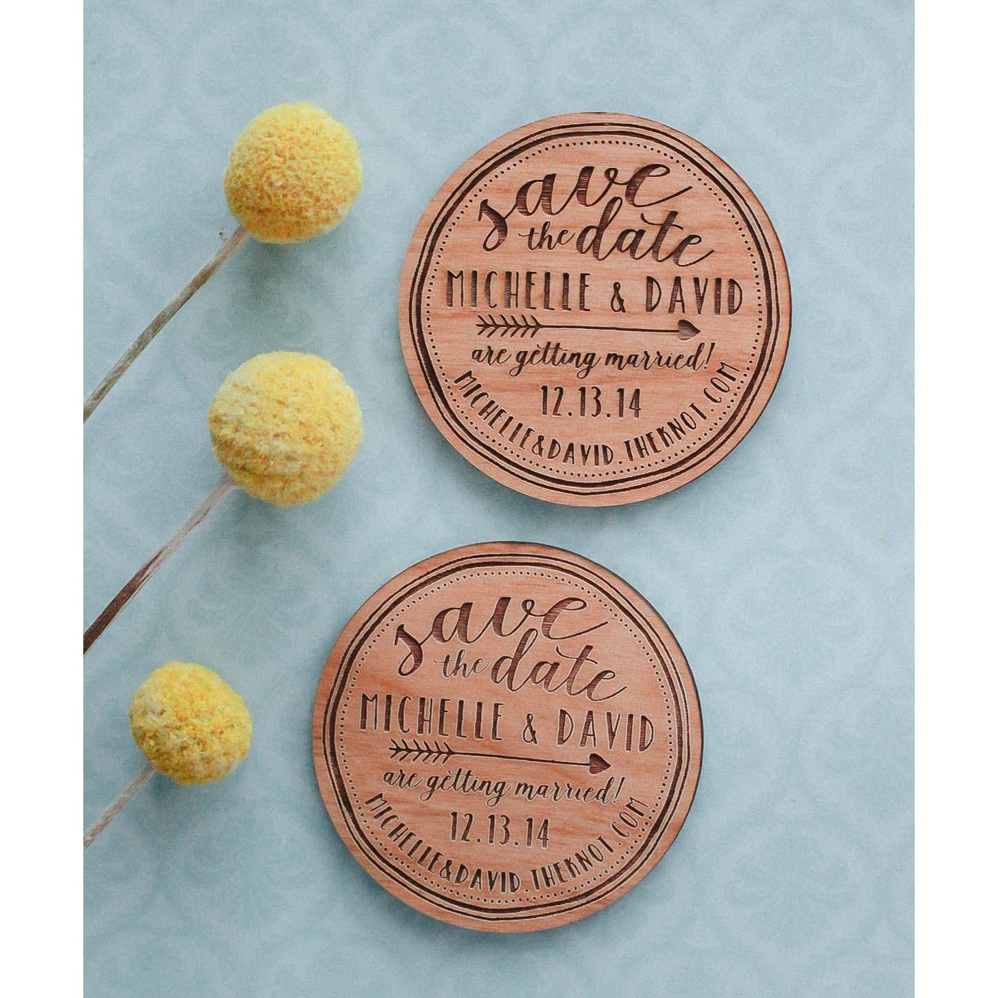 Save the Date Custom Engraved Wood Invitation Magnet