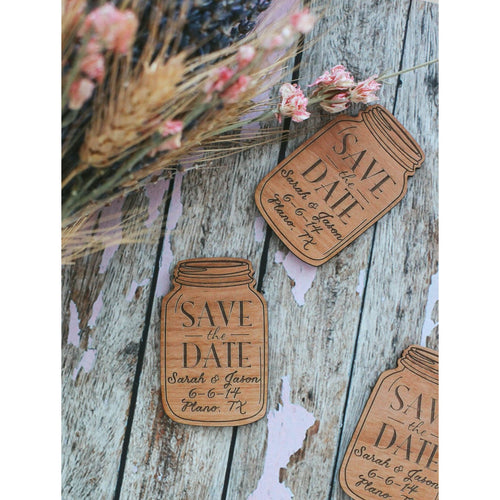 Custom Engraved Save the Date Mason Jar Wood Magnet Invitation