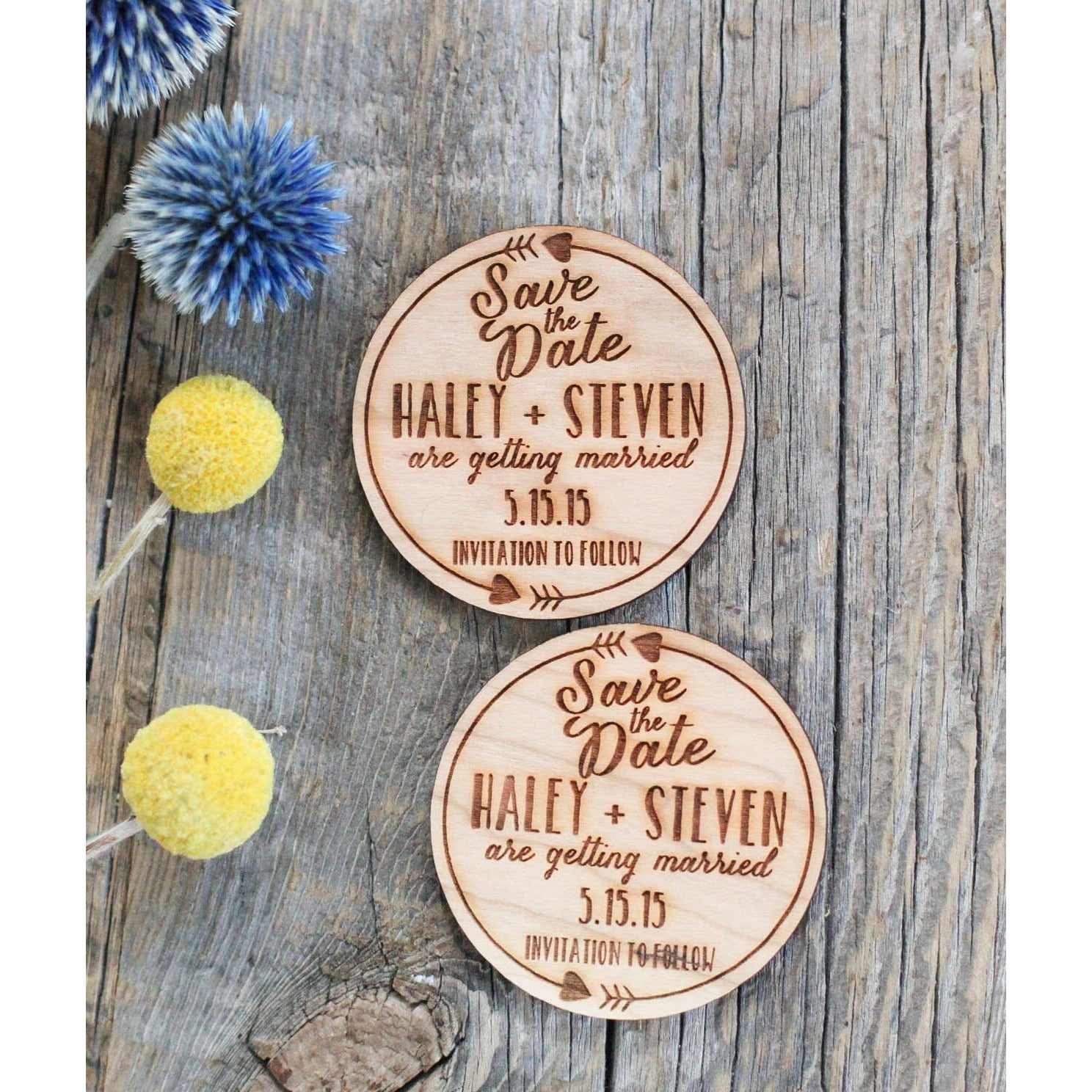 Custom Engraved Save the Date Wood Magnet Invitation