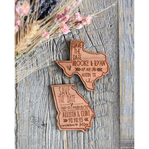 Custom Engraved State Save the Date Wood Magnet Invitations