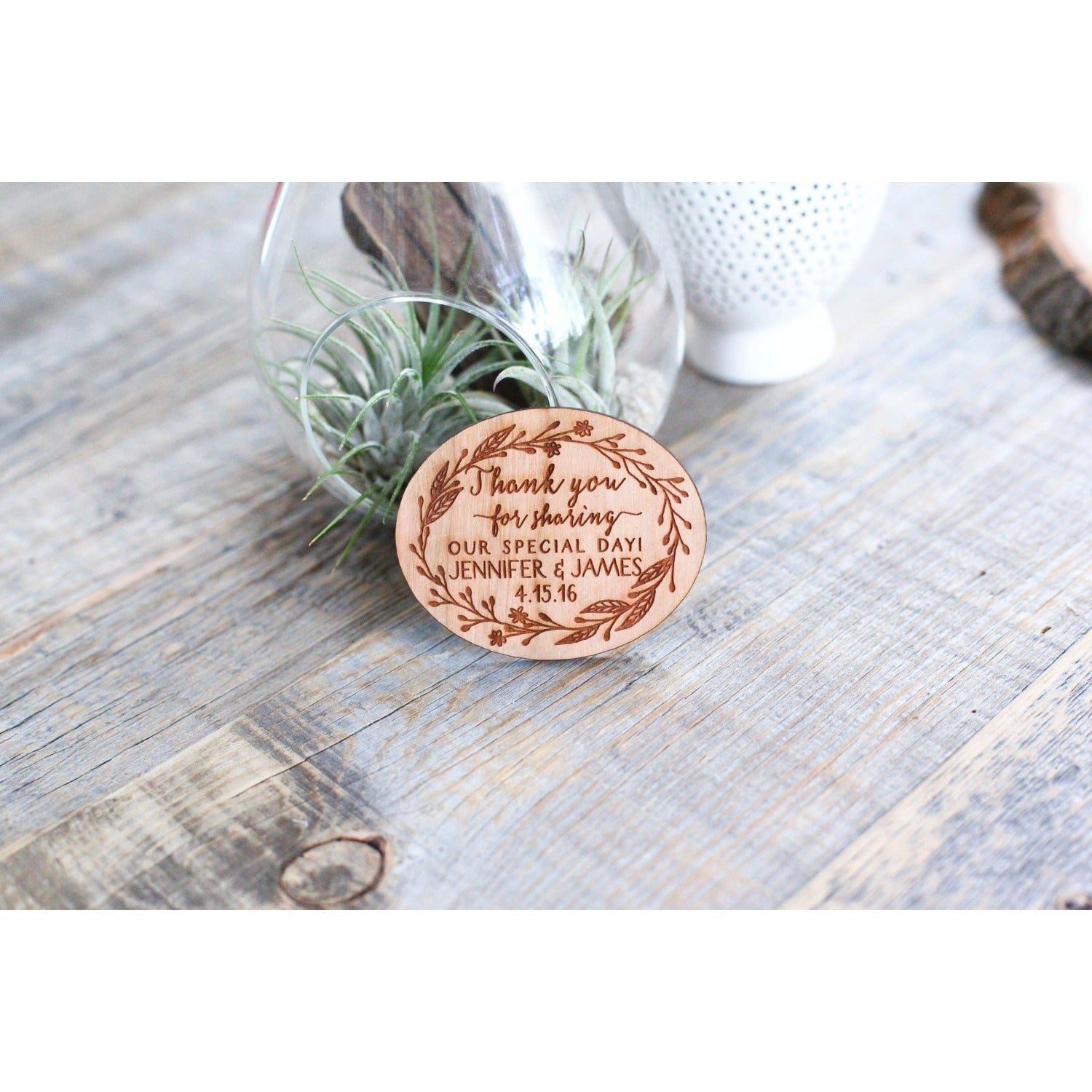 Custom Thank You Wedding Wood Favor Magnet