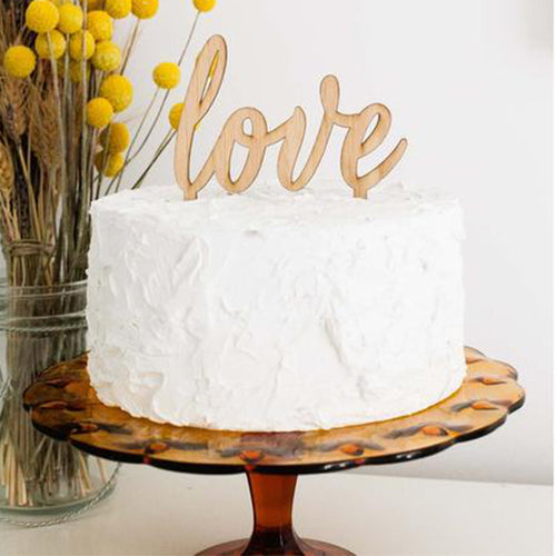 Love Cake Topper, Bamboo Wood Cake Topper, Wedding Cake Topper, Anniversary Cake Topper, Birthday Cake Topper