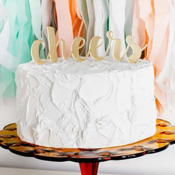 Gold Mirror Cheers Cake Topper
