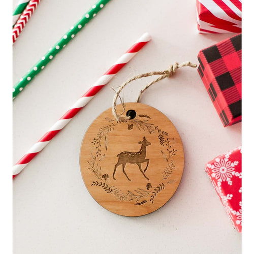 Christmas Deer Wood Ornament