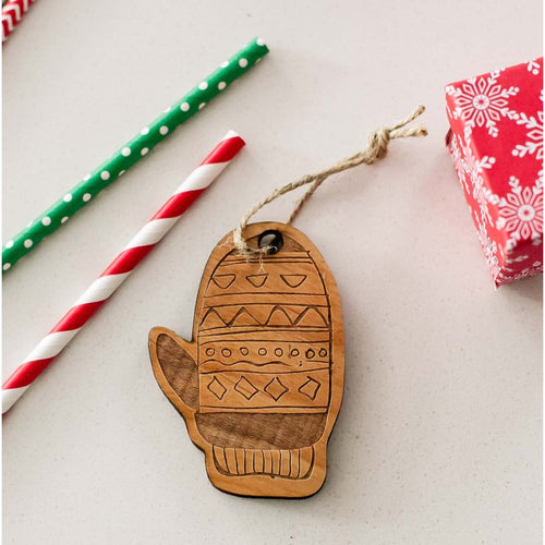 Christmas Mitten Wooden Ornament