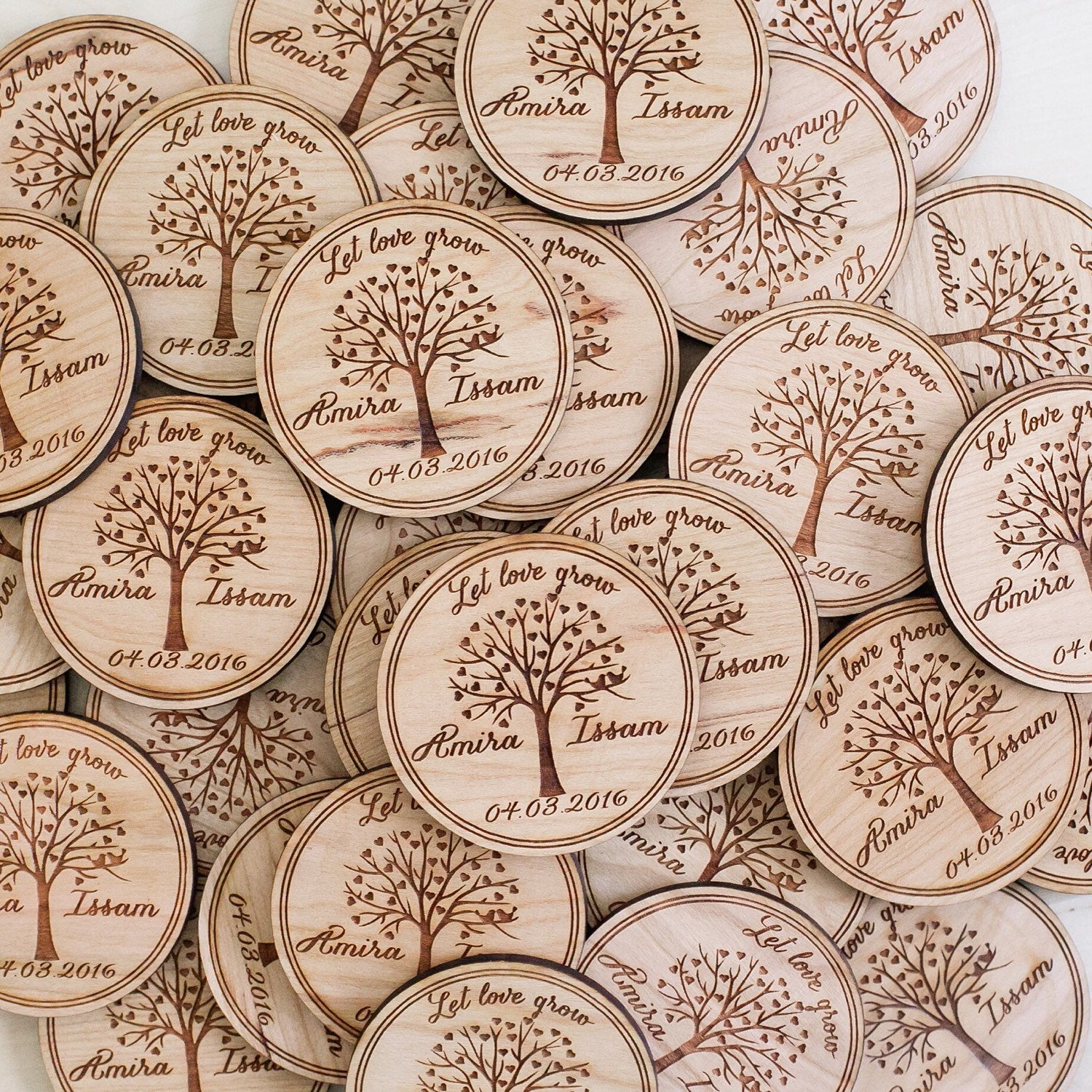 Custom Lovebirds in a Tree Save the Date Wooden Wedding Magnet