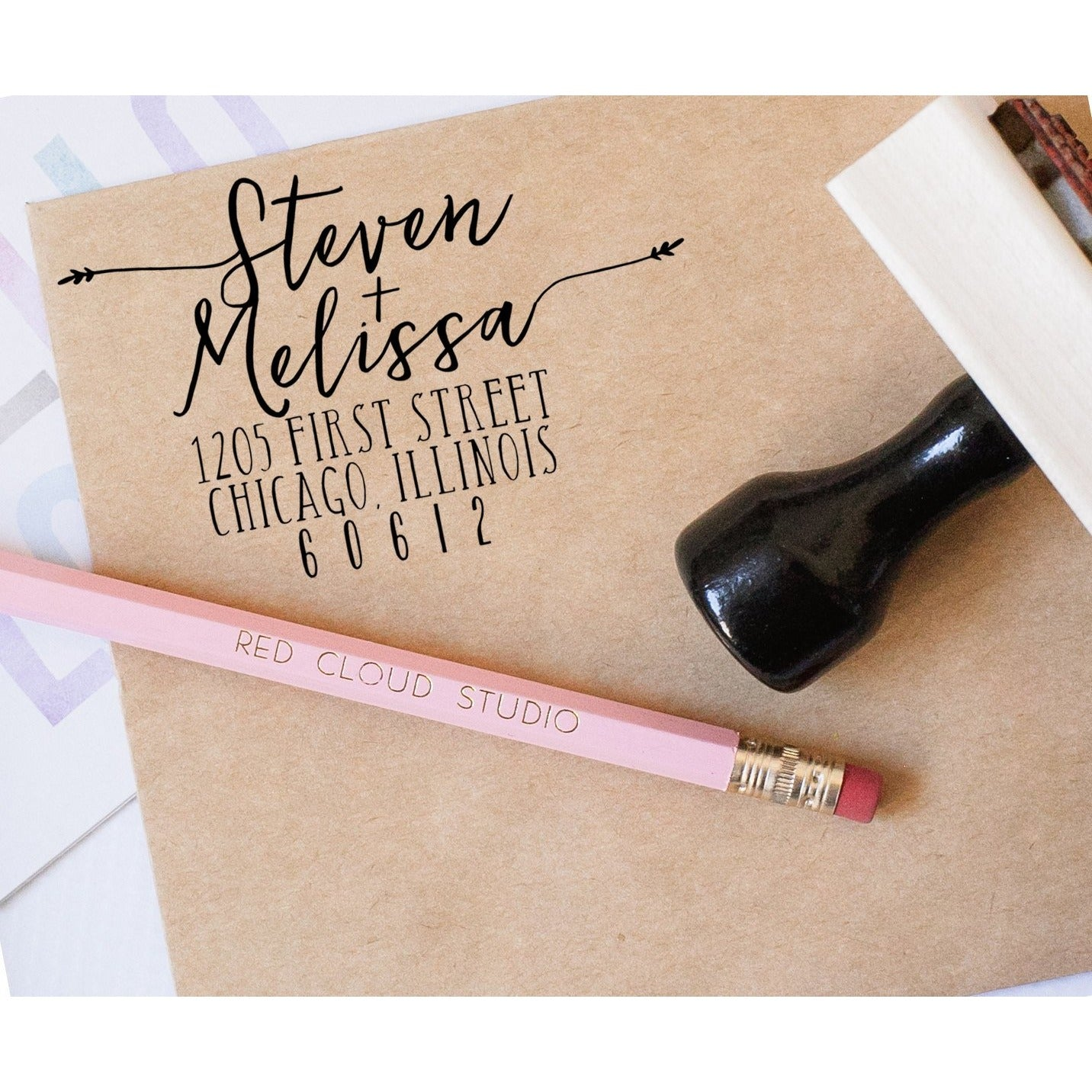 Custom Faux Calligraphy Return Address Stamp