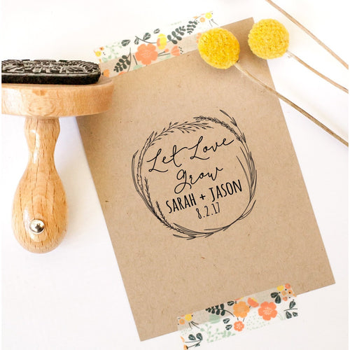 Let Love Grow Seed Favor Rubber Stamp