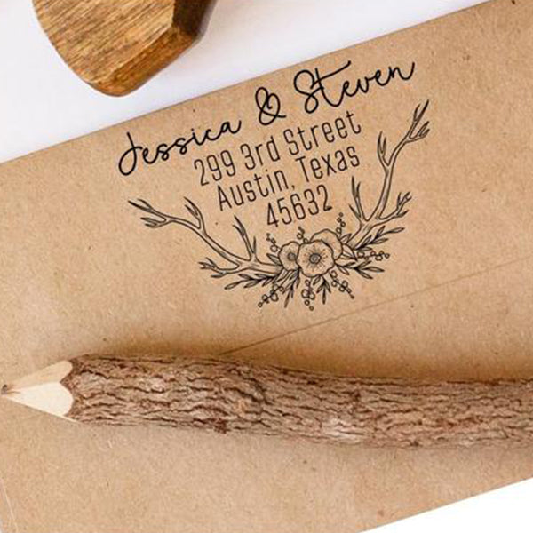 Floral Return Address Stamp