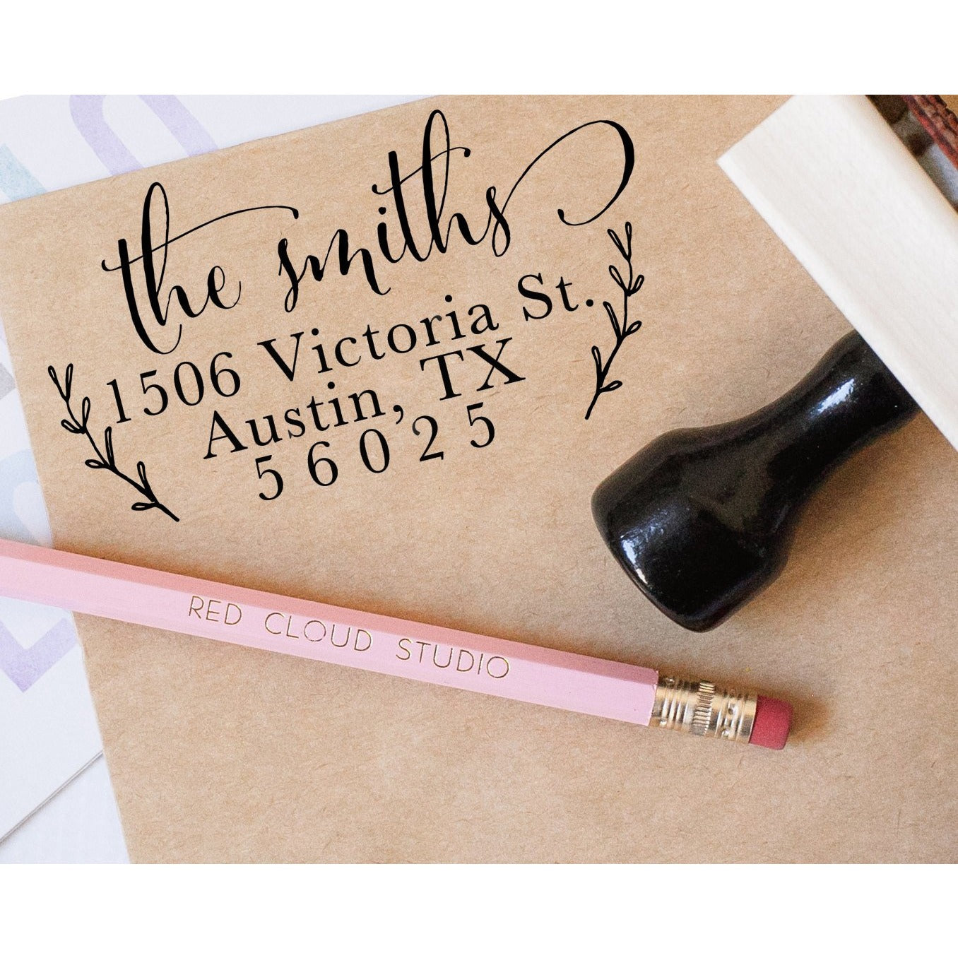 Calligraphy Return Address Stamp with Wreath