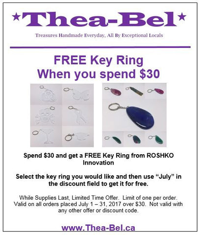 Deal of month, free key ring with $30 purchase