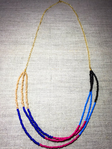 Three Strand Multi-Colour Beaded Necklace - Last Chance