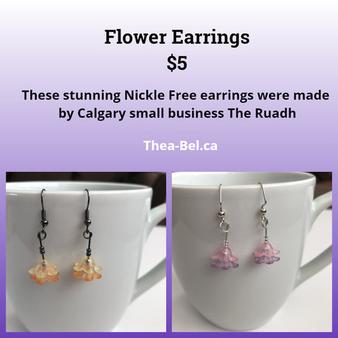 Flower Earrings - Pink or Orange (Nickle Free)