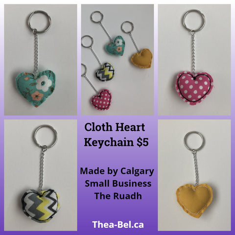 Cloth Heart Keychains