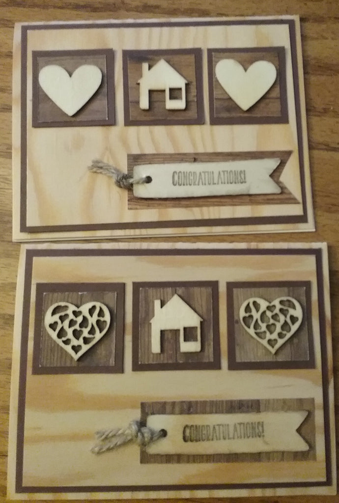 Wooden Hearts New Home Card