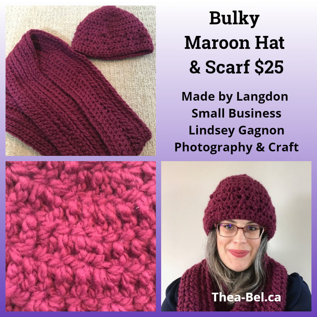 Bulky Maroon Hat & Scarf