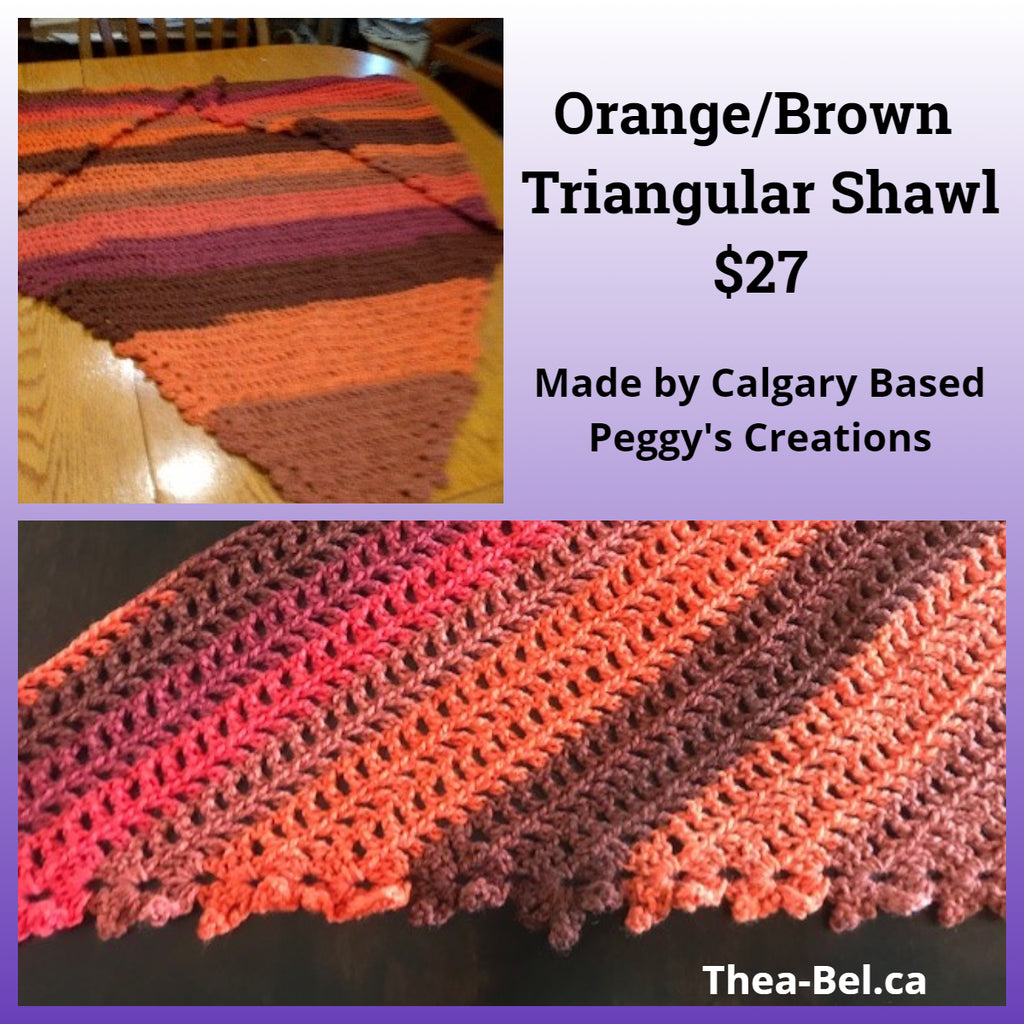 Orange/Brown Triangular Shawl