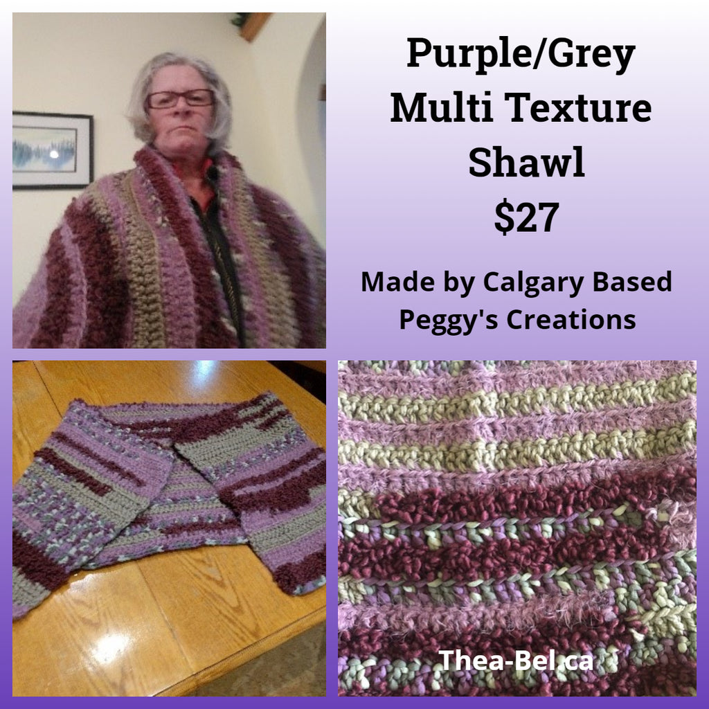 Purple/Grey Multi Textural Shawl