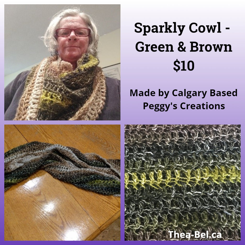 Sparkly Cowl - Green & Brown