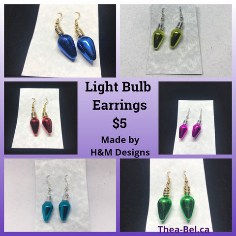 Light Bulb Earrings - Blue/Teal