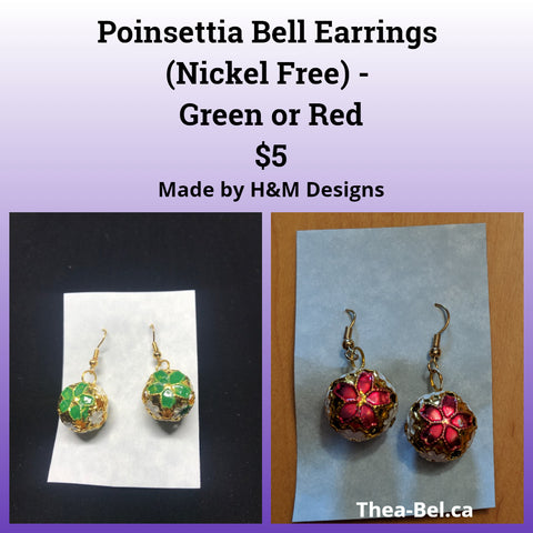 Poinsettia Bell Earrings (Nickel Free) - Green or Red