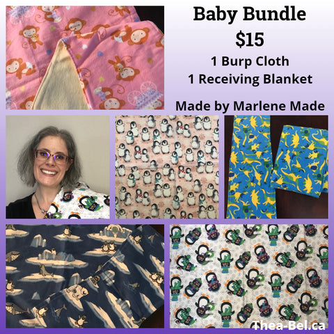 Baby Bundle: 1 Burp Cloths, 1 Receiving Blanket (Multiple Patterns)