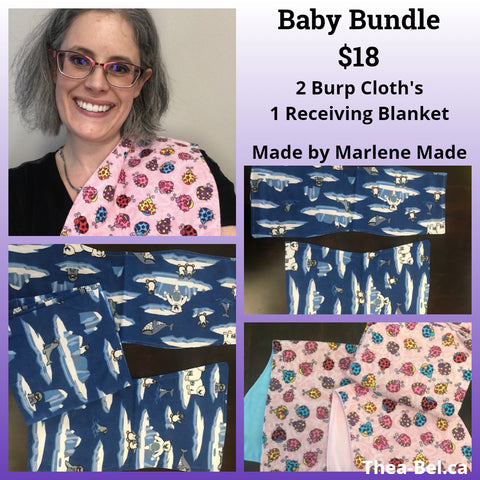 Baby Bundle: 2 Burp Cloths, 1 Receiving Blanket (Multiple Patterns)