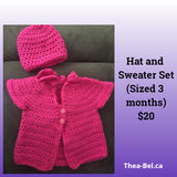 Pink Sweater & Hat - 3 month old