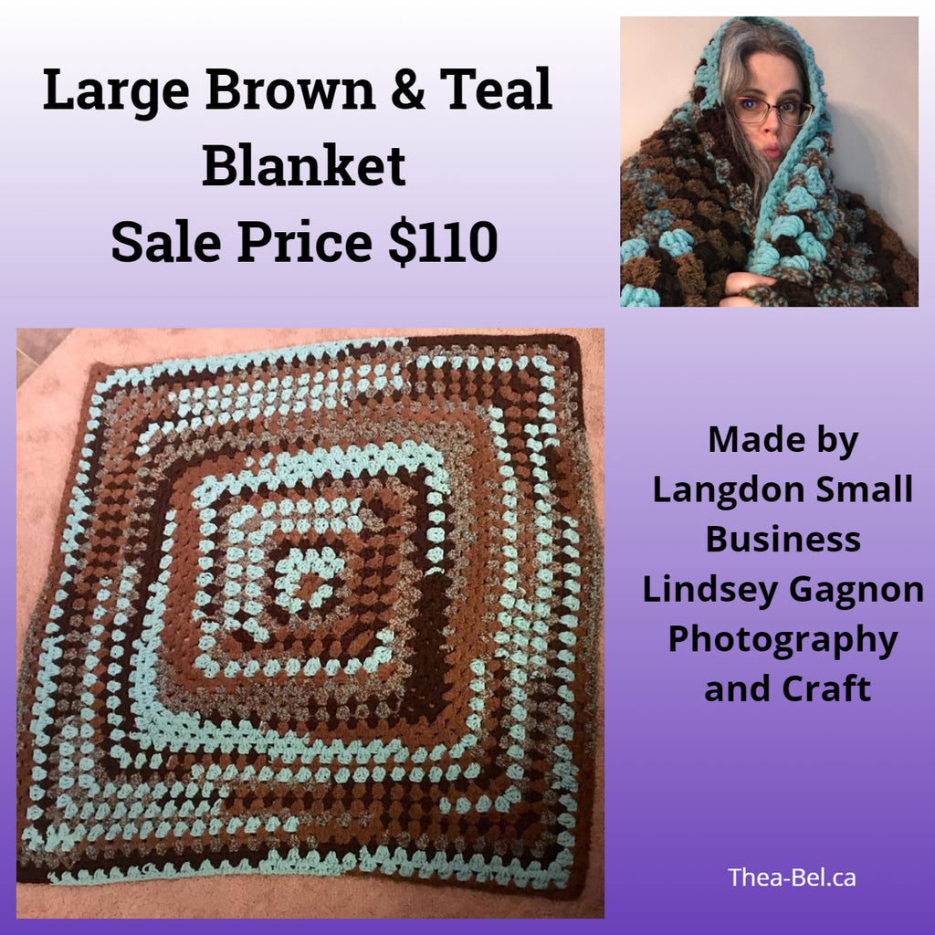 Large Brown and Teal Blanket