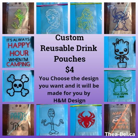 Custom Drink Pouches - Choose Your Pattern